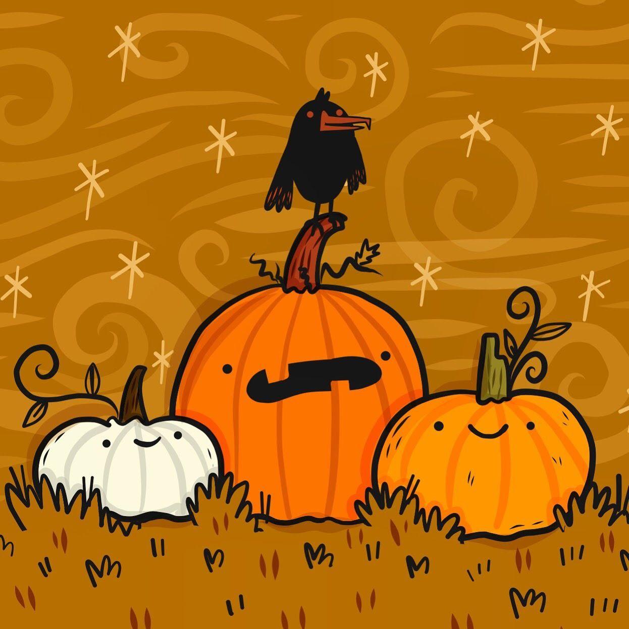 Spooky Pumpkin Patch Halloween Art By Lydia Jean Art Halloween Art Halloween Doodle Halloween Illustration