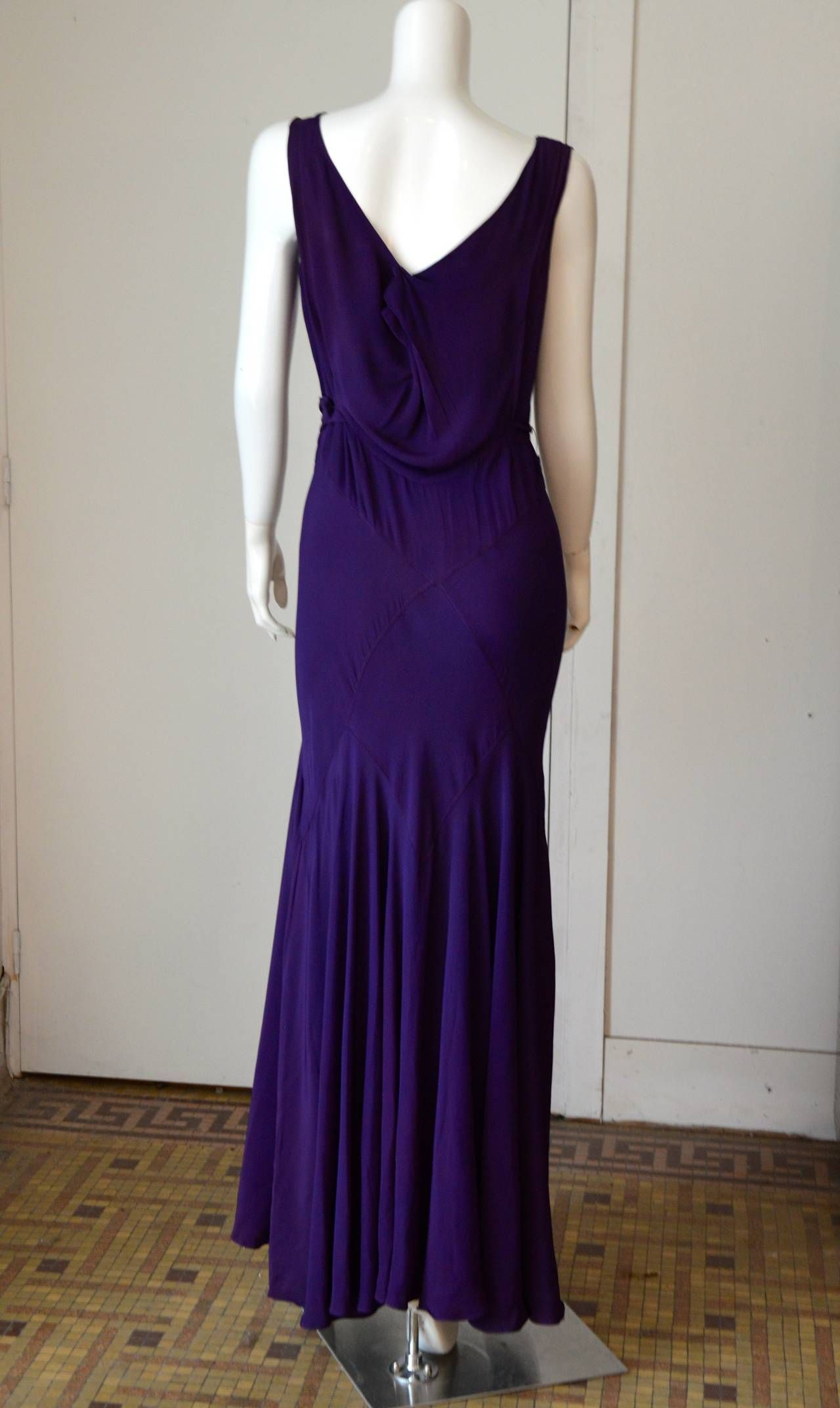 1930s Bias Cut Purple Crepe Evening Dress | 1930s Dress ...