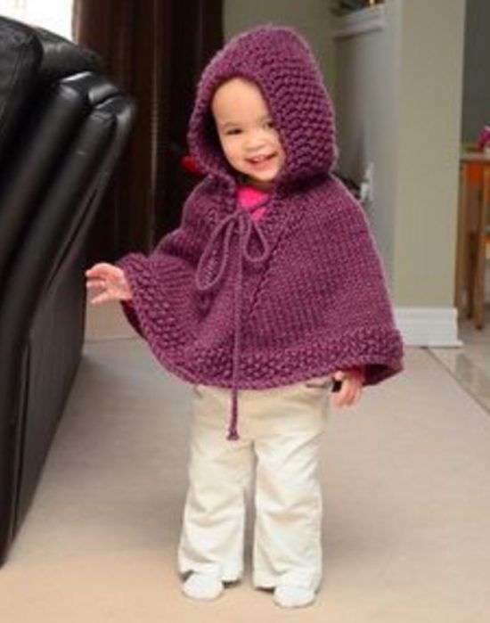 Knitted Hooded Baby Poncho Pattern Free | Baby poncho, Ponchos and ...