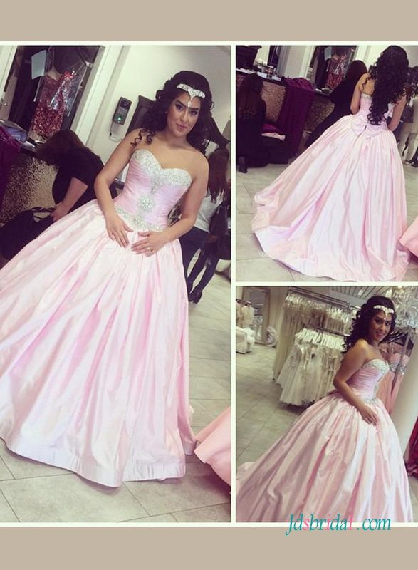 Blush pink colored prom dresses