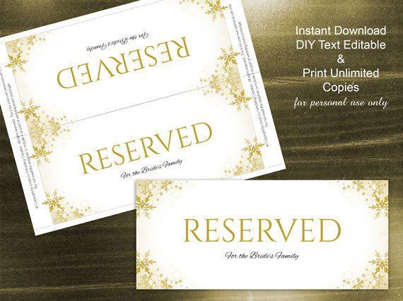 DIY Printable Wedding Reserved Sign Microsoft Word Template ...