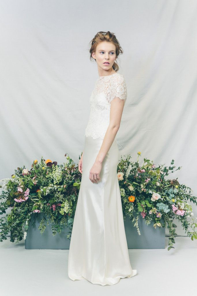 PEONY // Bridal separates // By Kate Beaumont // Photography: India Hobson // Hair & MU: Jenn Edwards // Florals: Swallows & Damsons // Accessories: Debbie Carlisle