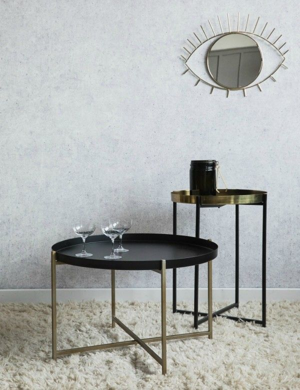 Black Brass Side Tables Two Styles Available Iron Steel - Black and brass side table