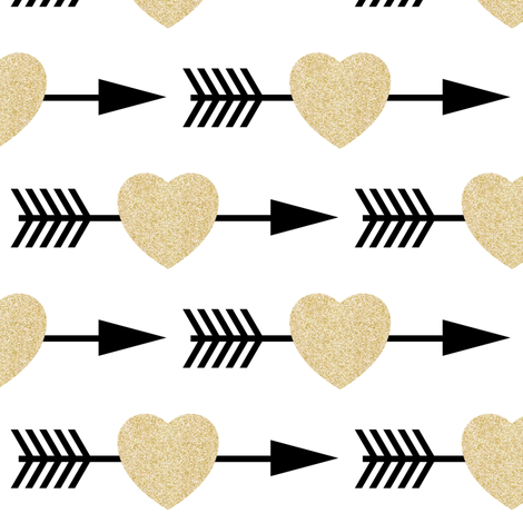Colorful Fabrics Digitally Printed By Spoonflower Gold Glitter Shooting Hearts Arrow Fabric Fabric Heart With Arrow