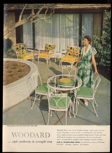 1950 S Style Rod Iron Patio Furniture In White And Green Gorgeous