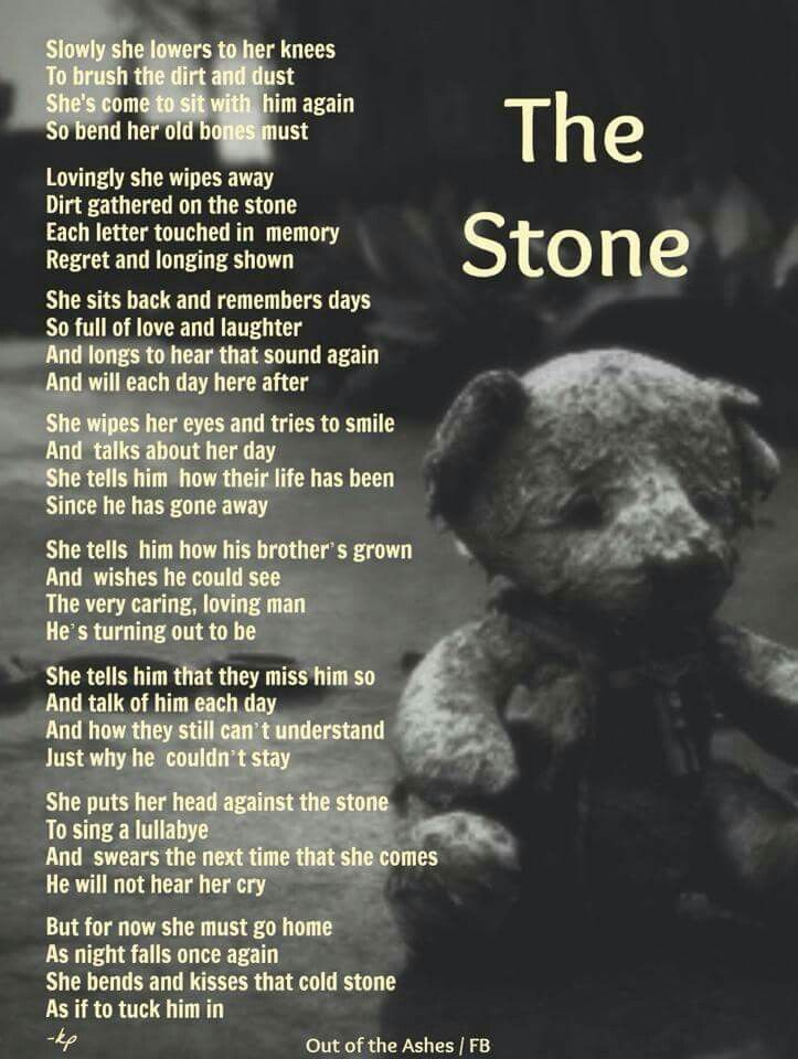 The Stone | Words Of Wisdom | Child loss, Grief poems, My