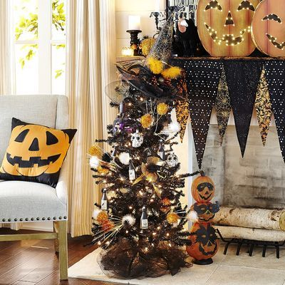 Halloween decor - black tree, mantel/mantle, pillow