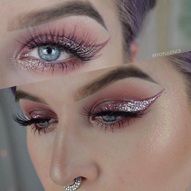Metallic pink cat eye   Pink eye makeup, Beautiful eye ...