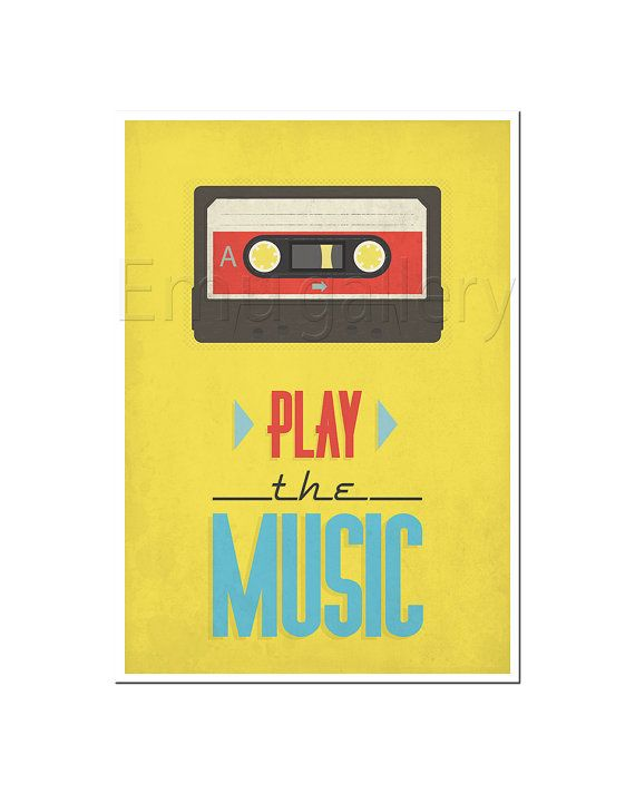 Retro print, cassette, tape poster, mid-century vintage poster ...