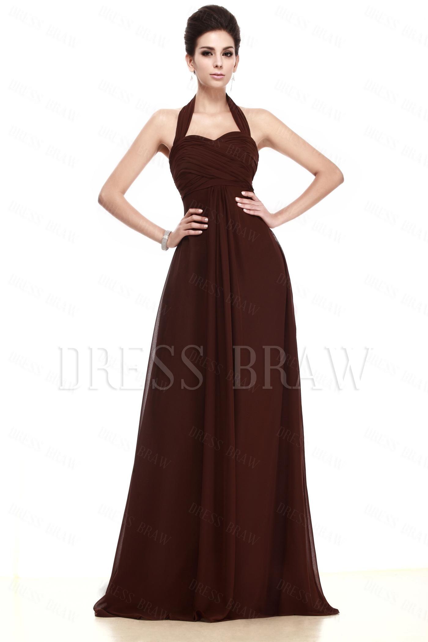 Column Brown Halter Taline's Prom/Evening Dress: Dressbraw.com