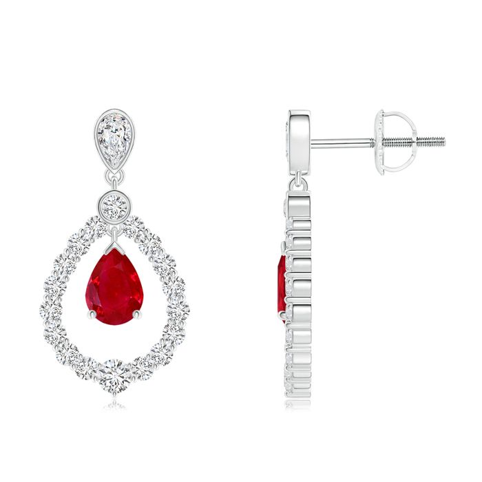 Angara Heart Ruby Drop Earrings in Platinum YeM3FEi