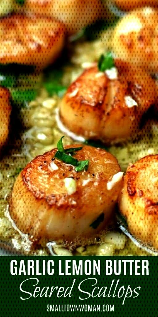 garlic lemon butter scallops | Seafood | Scallops | Lemons... - Fried garlic lemon butter scallops
