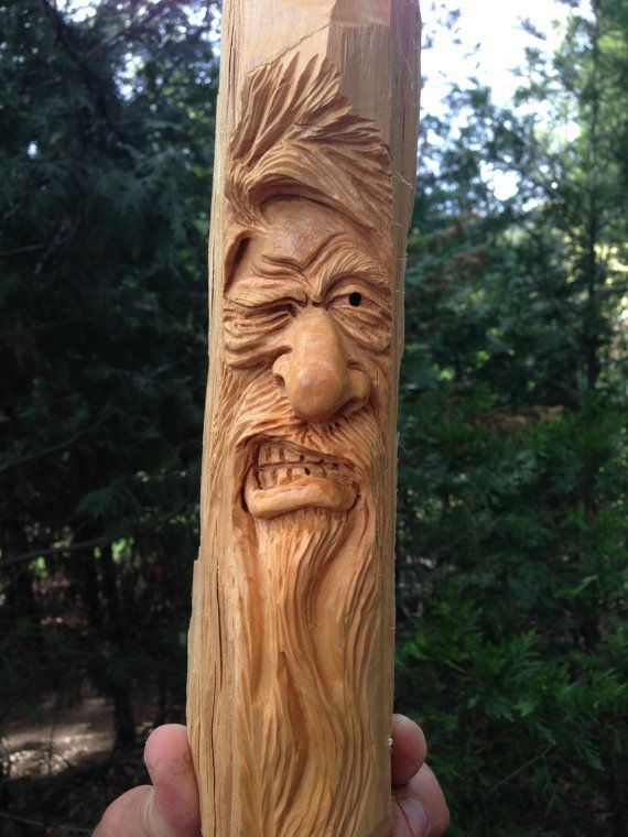 Hand carved angry winking viking wizard wood spirit by