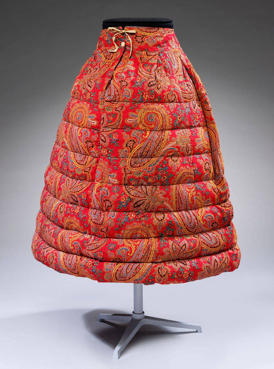 Red Paisley Cotton 18th Century Petticoat Skirt