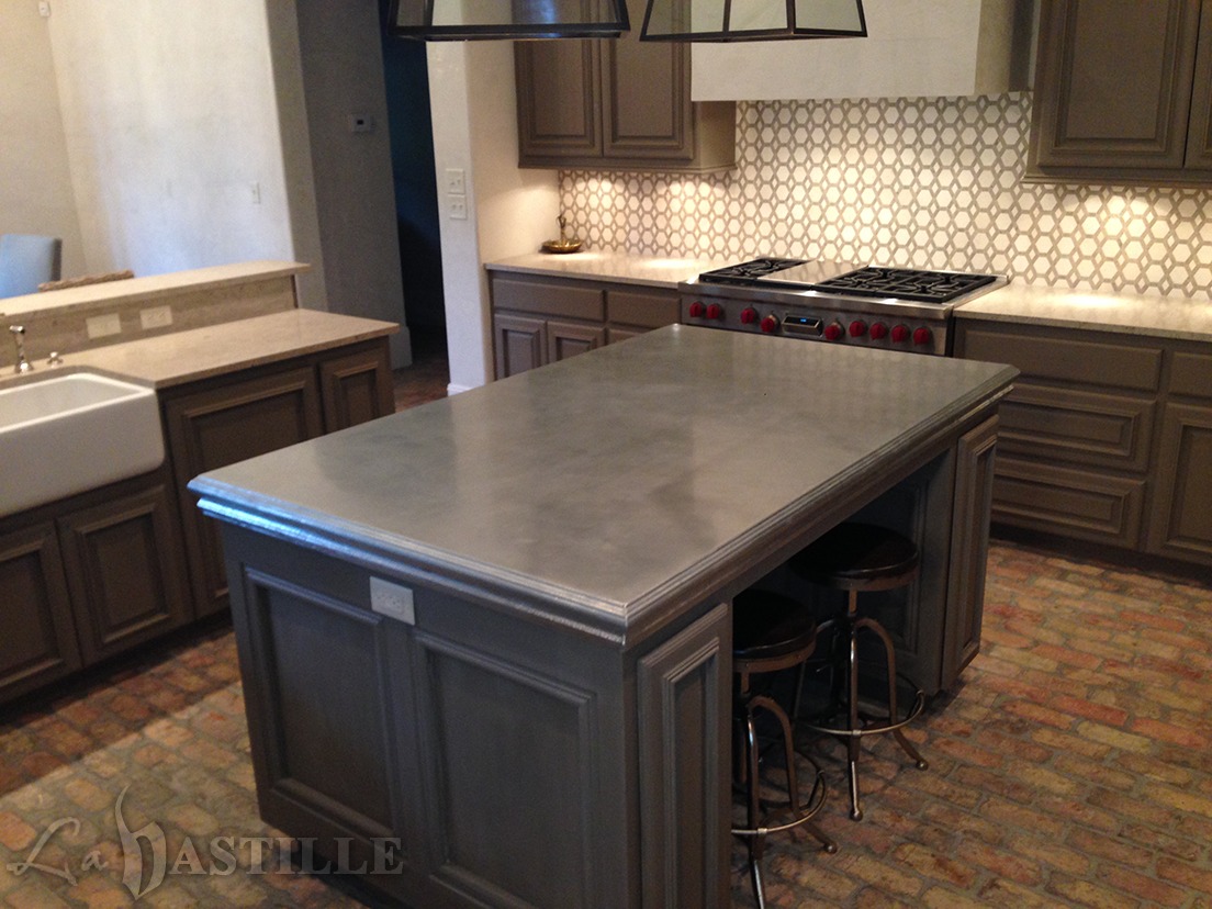 Zinc countertop bastille metal works kitchen ideas for Zinc kitchen countertop