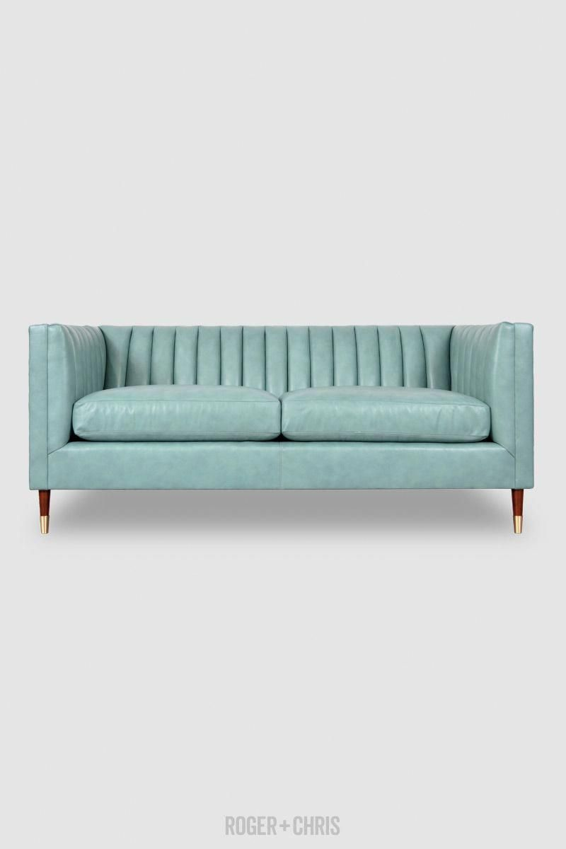 Blue Leather Sofa Channel Tufted