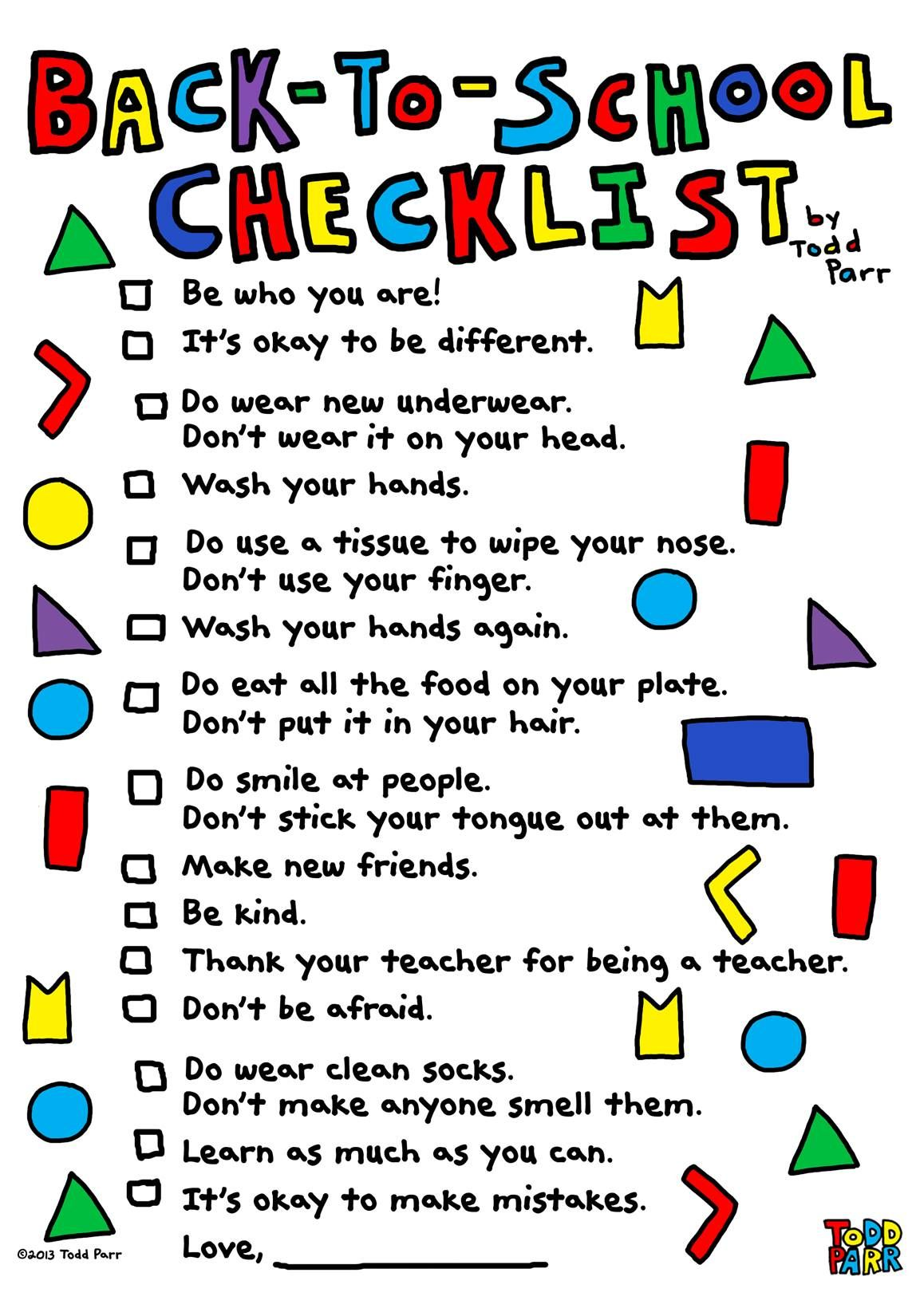 back to YOGA checklist in 2020 School checklist, Back to