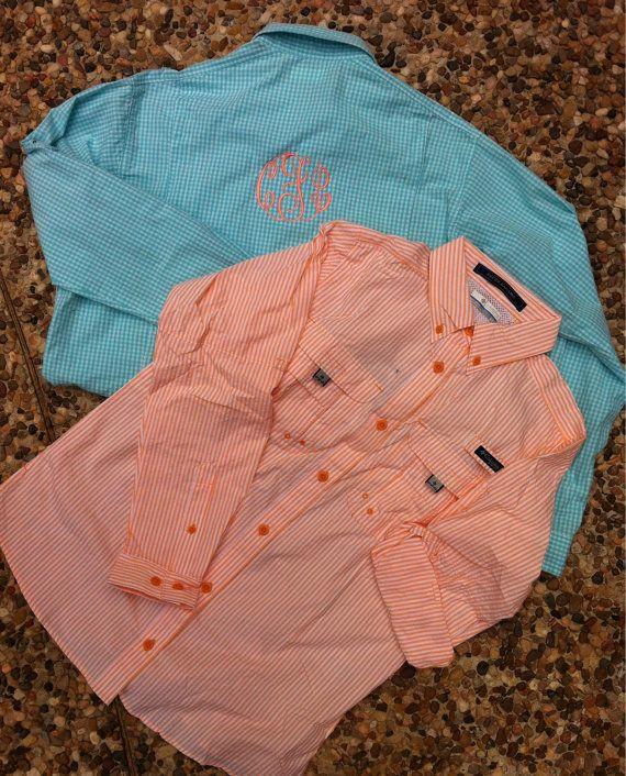 77e22ed3130 Monogrammed Columbia PFG Fishing Shirt - Women's Super Bahama Sorbet  Seersucker Long Sleeve $50