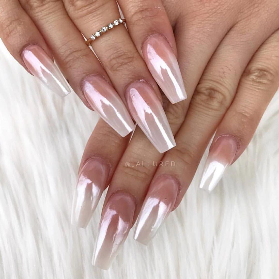 Gorgeous White Chrome Nails By Allured Create This Look Using Our Magic White Chrome Powder Back In Chrome Nails Designs Faded Nails White Chrome Nails