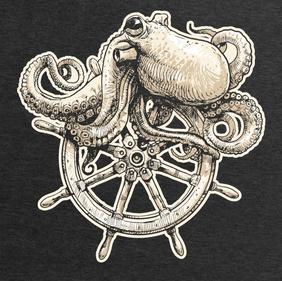 Back On Etsy! Octopus Entwined In A Ship's Wheel Screen