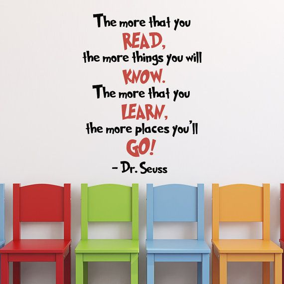 Dr Seuss Graduation Quotes Wall Decals The More That You Read Dr - Dr seuss nursery wall decals
