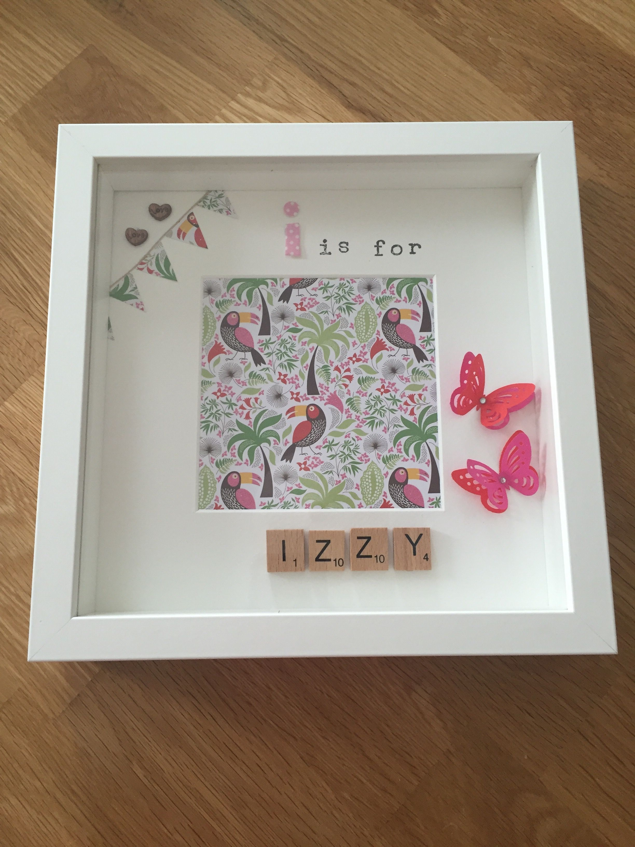 I is for Izzy - personalised memory frame / scrabble letters ...