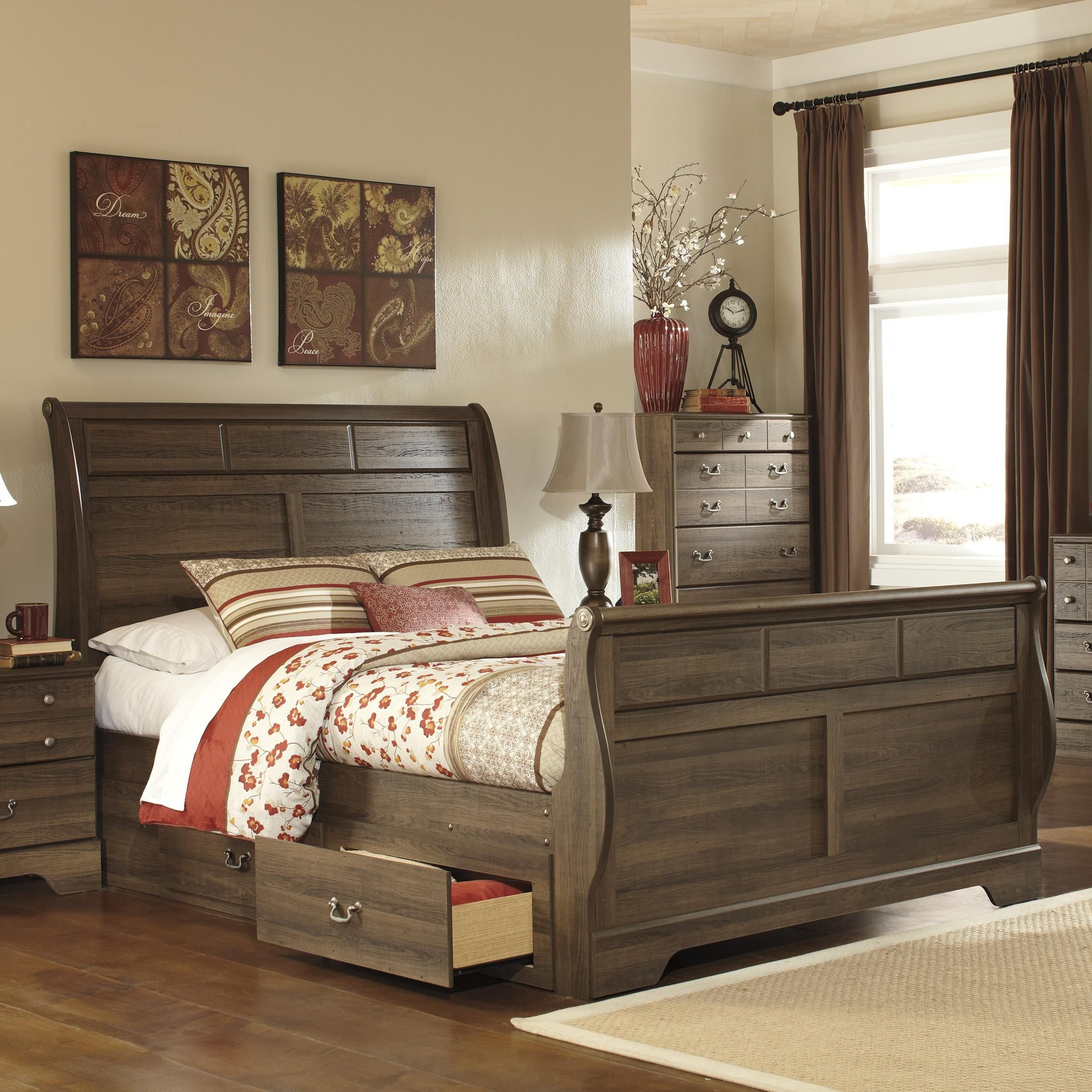 Allymore Queen Sleigh Bed With Under Bed Storagesignature Custom Ashley Bedroom Dressers Decorating Inspiration