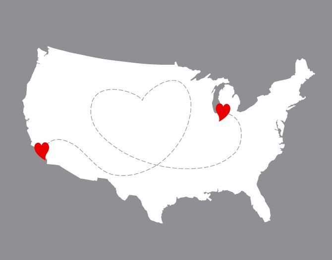 Custom USA Map With Heart Great For Long Distance Relationships - Us map distance