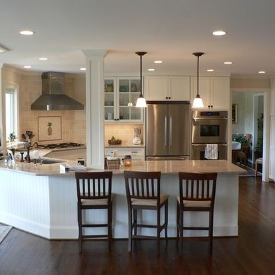 Kitchen Peninsula Design With Column Love I Sooo Wanna Tear Down A Wall And Have This