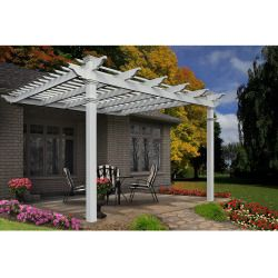 Atrium 12 X 12 White Vinyl Attached Pergola With Tall Base Moldings Outdoor Pergola Pergola Vinyl Pergola
