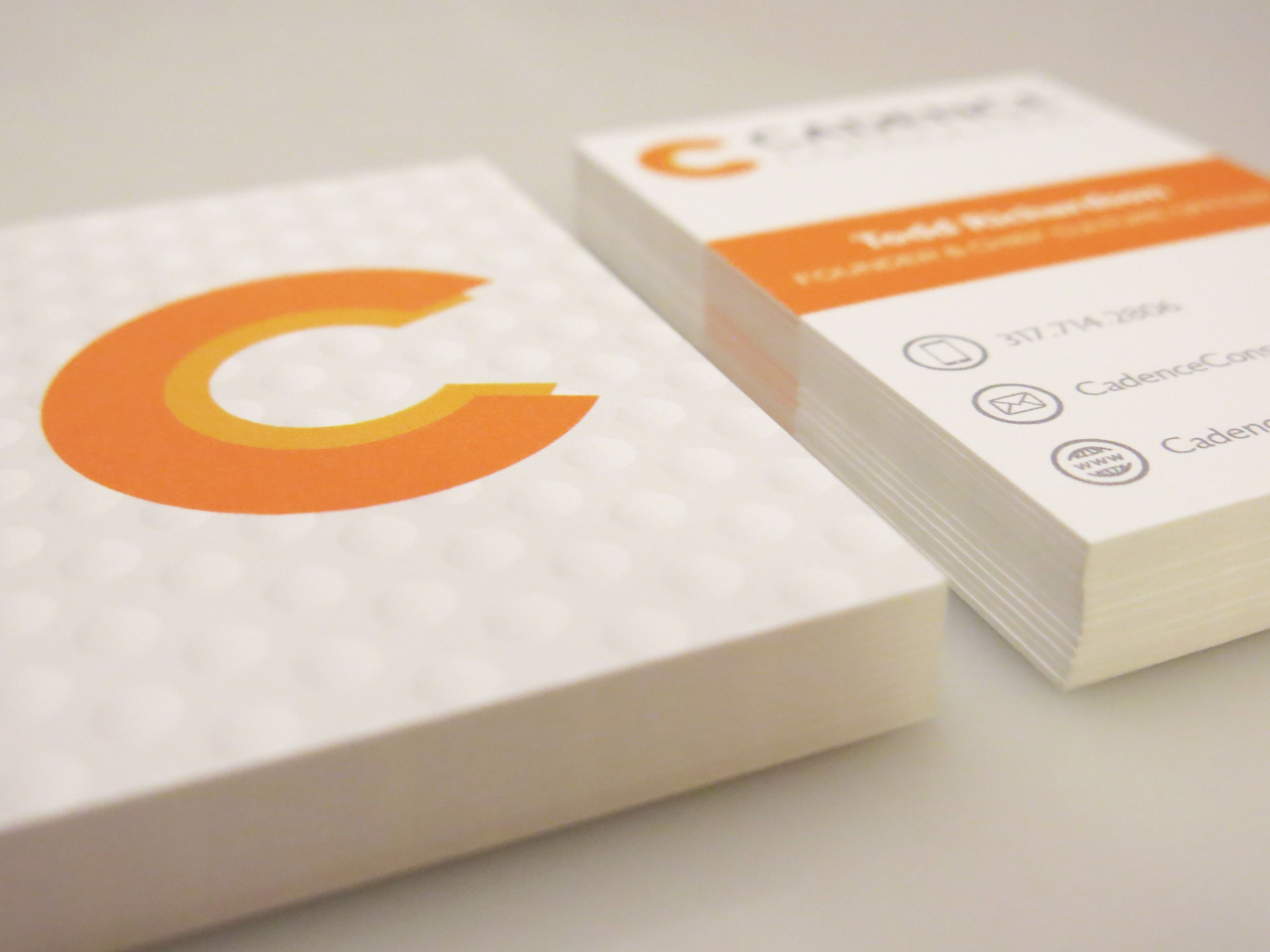 moo luxe business cards for cqb client cadence consulting
