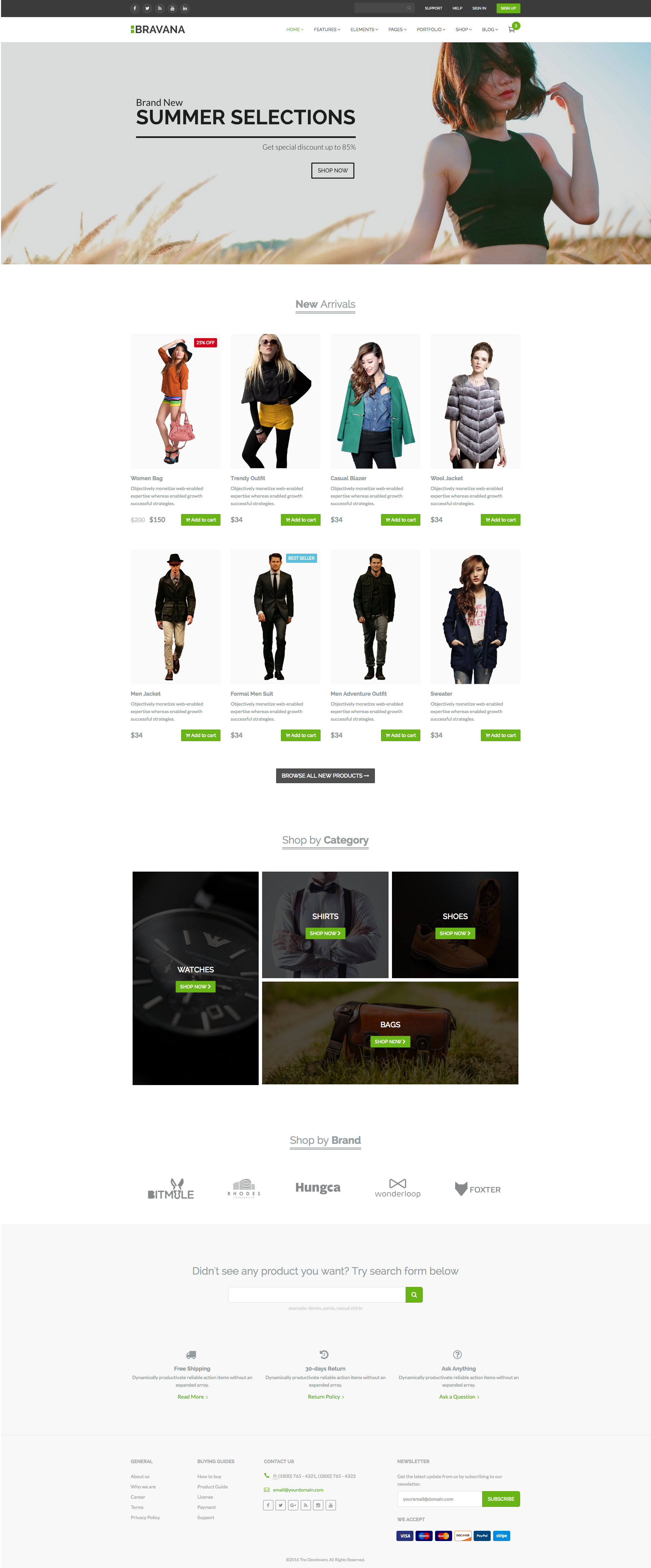 E-Commerce template from Bravana - Bootstrap Business Template | E ...