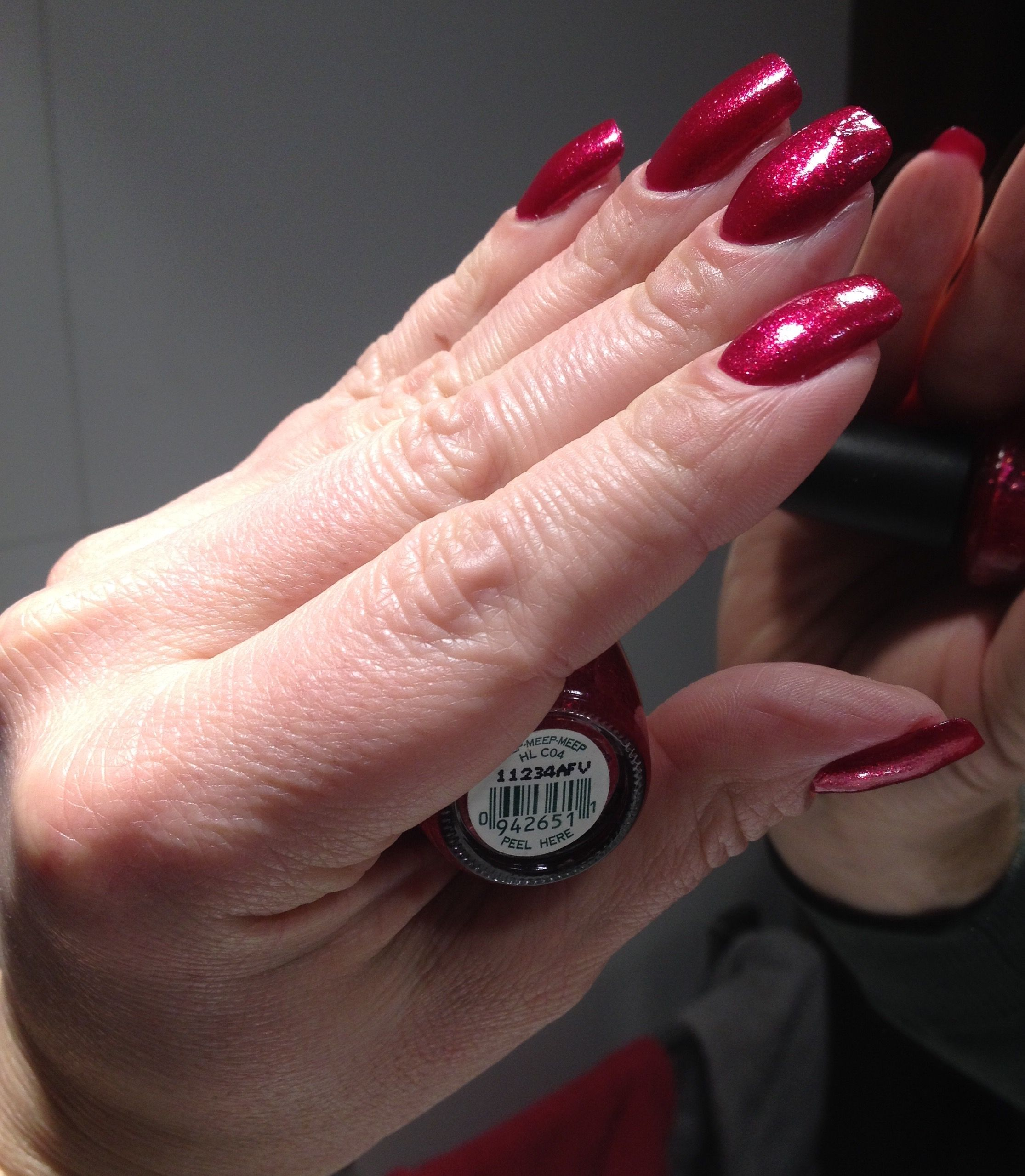 Red acrylic nails double team dynamicpunch powerful u strong