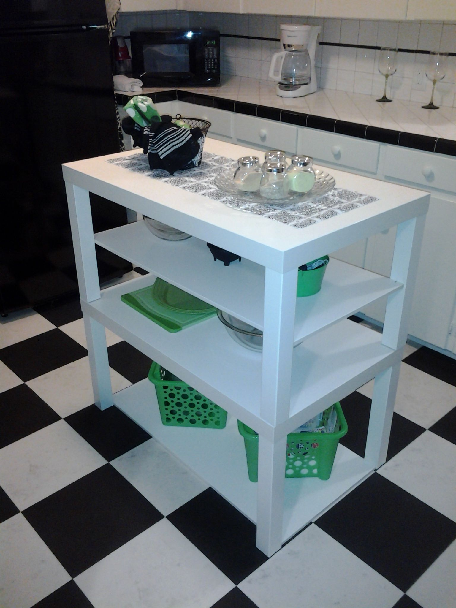 ikea hack ikea lack coffee tables turned cute little kitchen island by a diy beginner diy. Black Bedroom Furniture Sets. Home Design Ideas