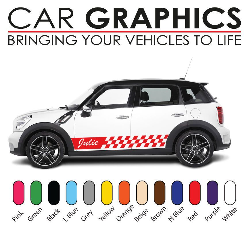 Personalised Mini Cooper Car Graphics Decals Stickers Vinyl Design - Car sticker design