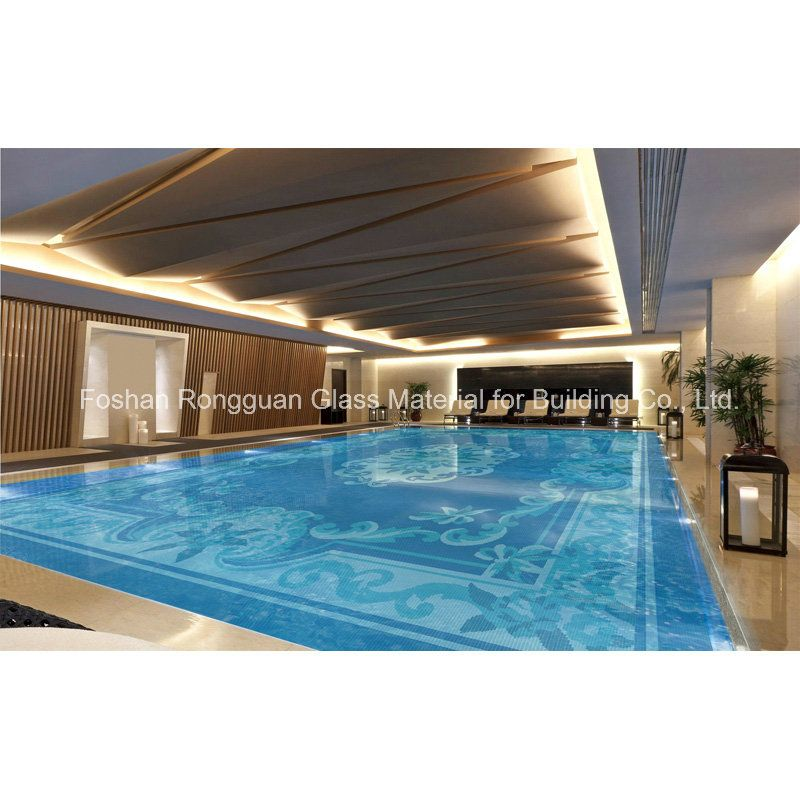 Artistic swimming pool mosaic pattern made of glass tile pinterest swimming pools for Indoor swimming pool ceiling materials