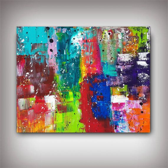 tableau abstrait peinture multicolore