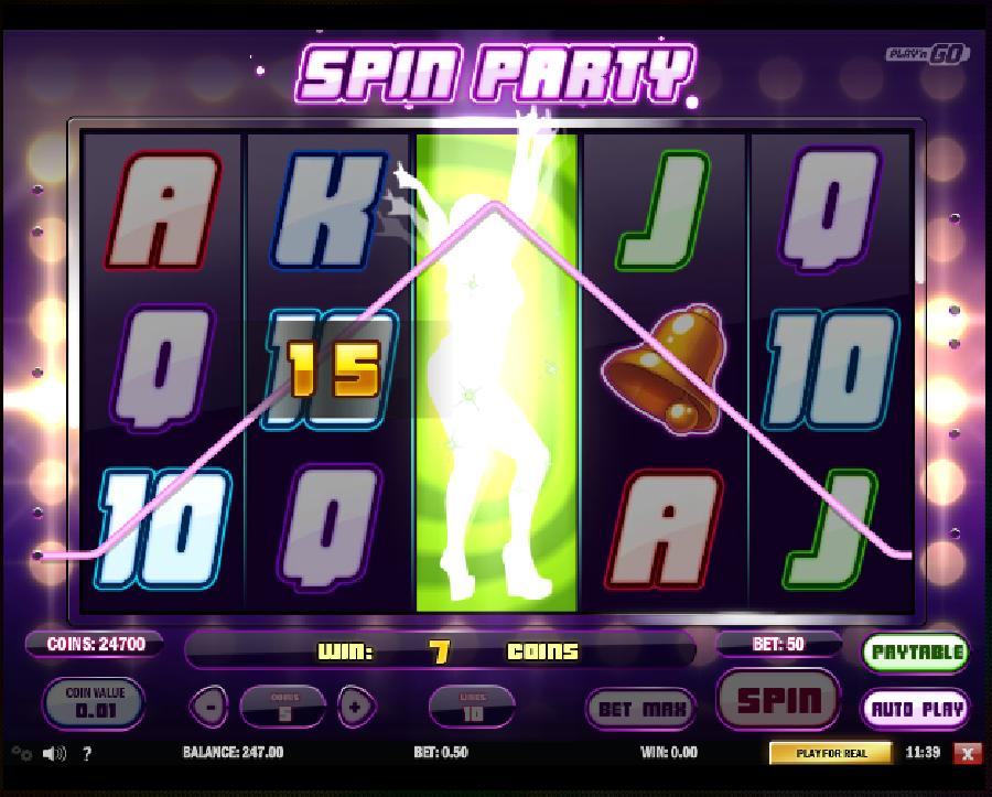 Hrací automaty Spin Party zdarma - Roztočte večer plný zábavy na automatové hře zdarma Spin Party s nezapomenutelnými go-go tanečnicemi, které Vám rozproudí nejen krev v žilách, když se budete těšit z vaší výhry.  #hraciautomaty #vyherniautomaty #automatovehry #vyhra #jackpot #spinparty