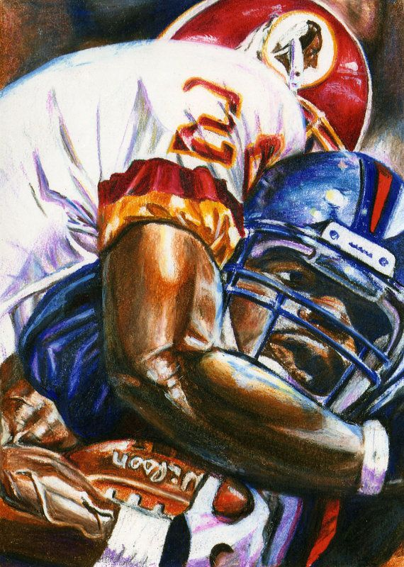 Art Print Of A Washington Redskin Player By Davidsharpartworks