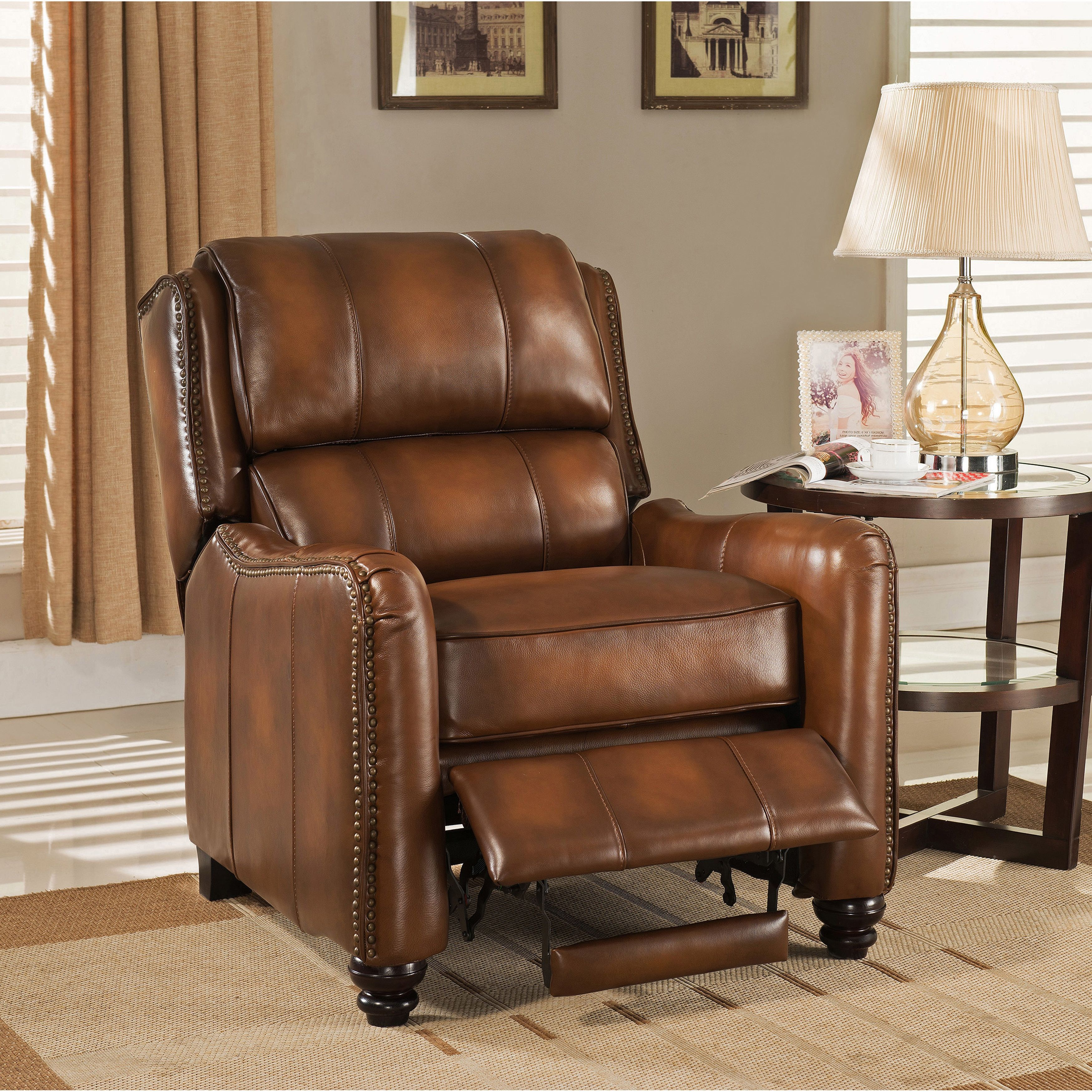 Outstanding Lowry Vintage Brown Premium Top Grain Leather Recliner Chair Bralicious Painted Fabric Chair Ideas Braliciousco