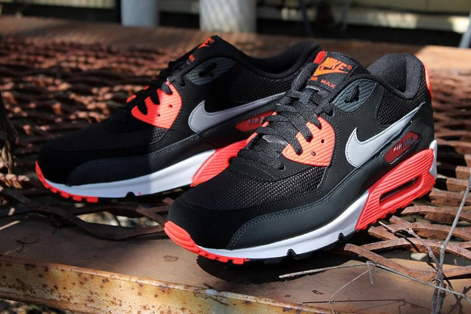 big sale b9550 6c2d4  Nike  AirMax 90 Essential Black Wolf Grey Atomic Red Anthracite  Sneakers   Schuhe