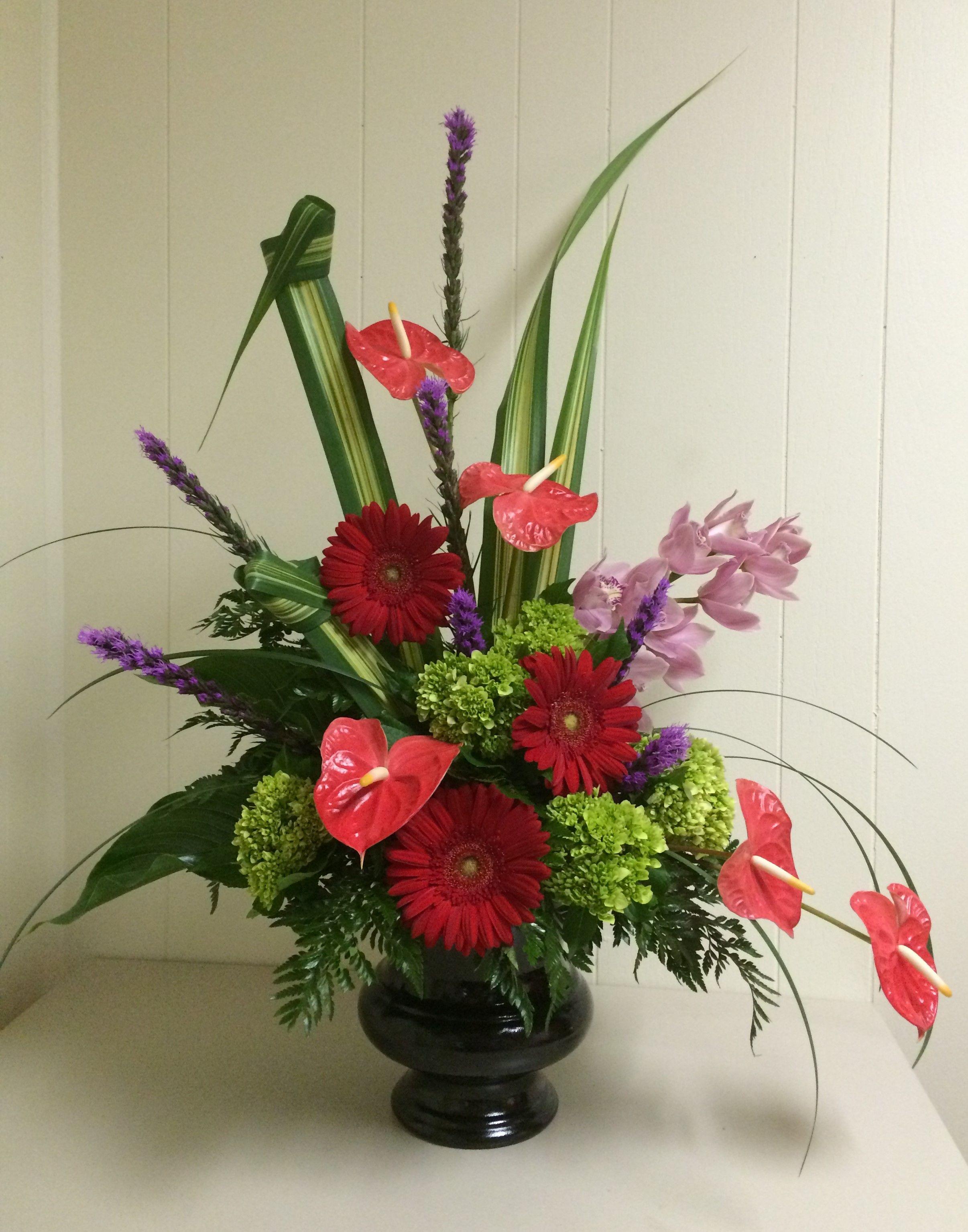 Modern Design With Anthurium Gerberas Orchids Mini Hydrangea And Liatris By Merritts Flowers Pitman Nj Flower Arrangements Liatris