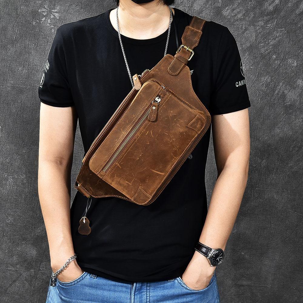 33749c390e7 Vintage Leather Fanny Pack Mens Waist Bag Hip Pack Belt Bag for Men ...