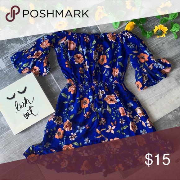 New Look Floral Off Shoulder Dress 17 inch armpit Waist