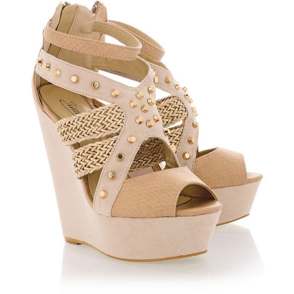 6678efc6e13 TIMELESS ECHO Nude Studded Wedges - Polyvore