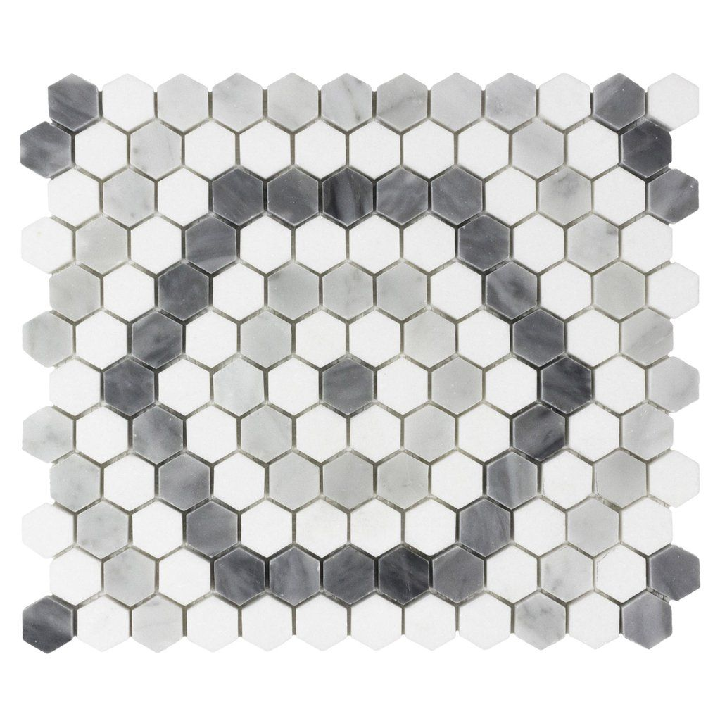 Mto0525 Modern 1x1 Hexagon White Blue Gray Marble Mosaic Tile In 2020 Marble Mosaic Tiles Stone Mosaic Tile Mosaic Tiles