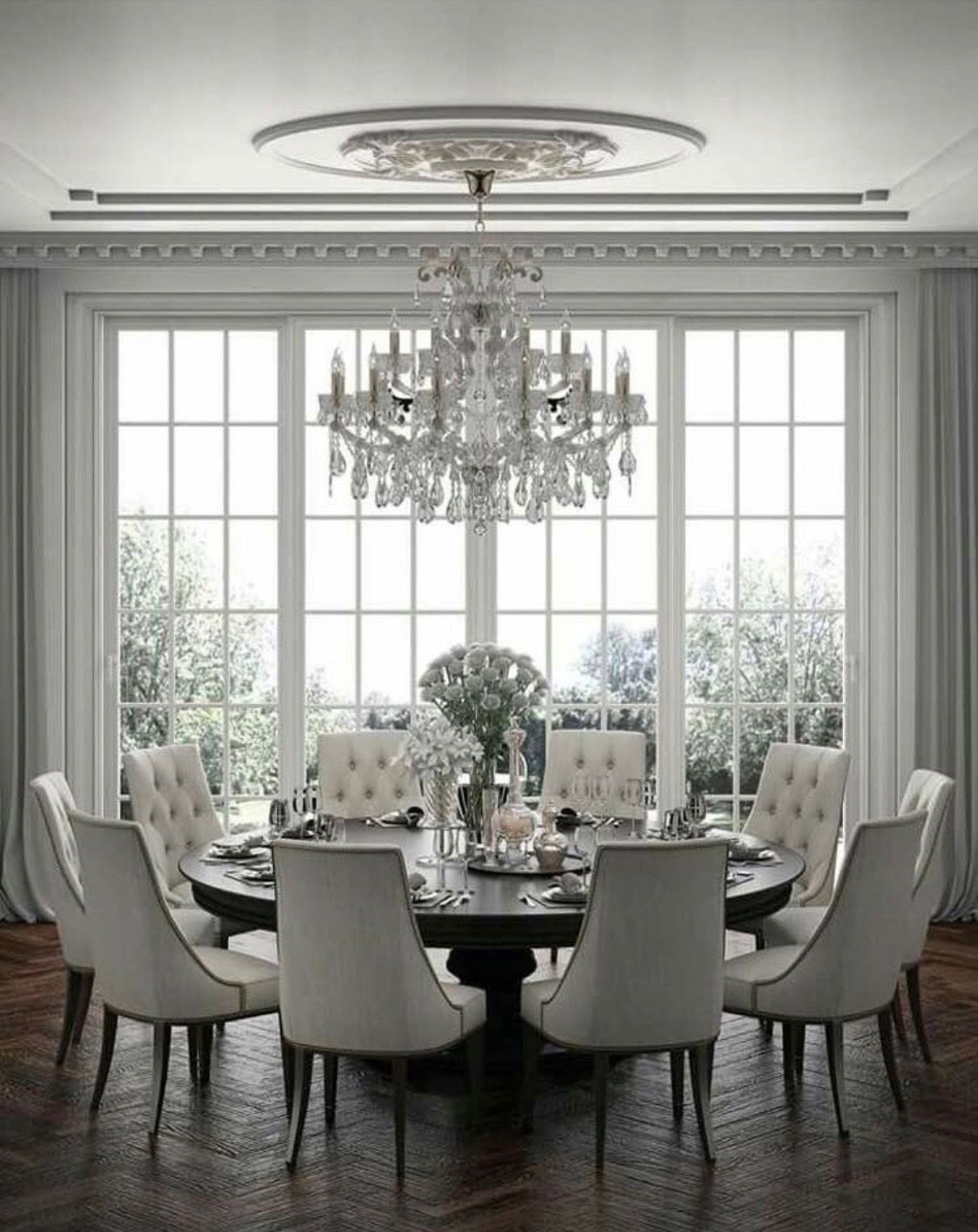 Gorgeous White Dining Room Dining Room Table Decor Dining Room