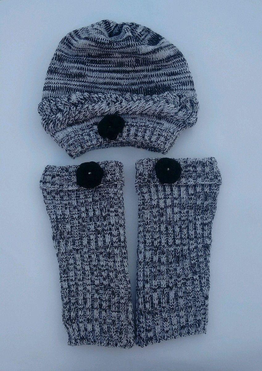 Para meninas descoladas. Kit polaina e touca de lã confeccionada em ... ae67ca0464d