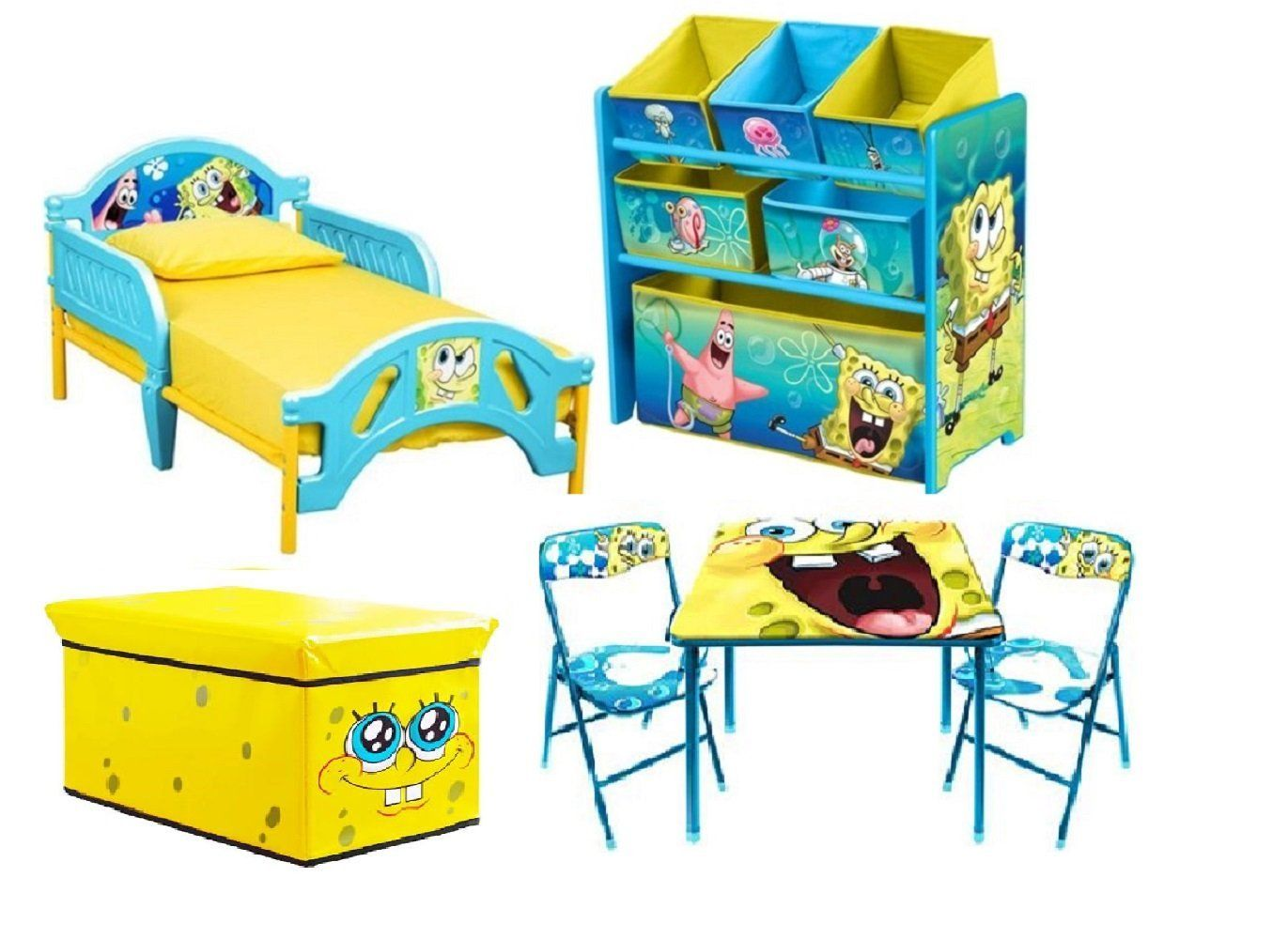 Spongebob Toddler Bedroom Bundle Set Bed Toy Bin Organizer