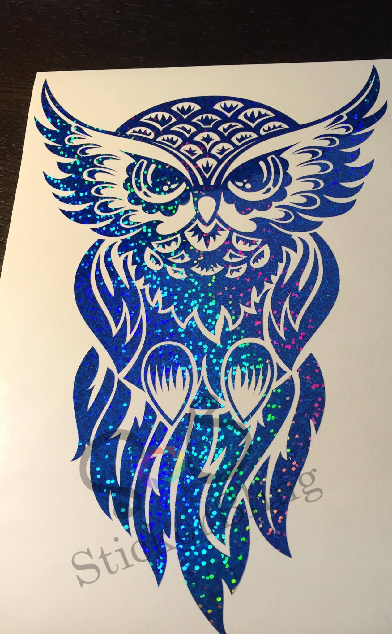 Owl tribal glitter holographic vinyl decal sticker car window